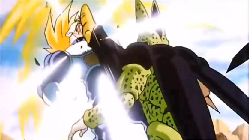 Gohan vs cell kamehameha battle