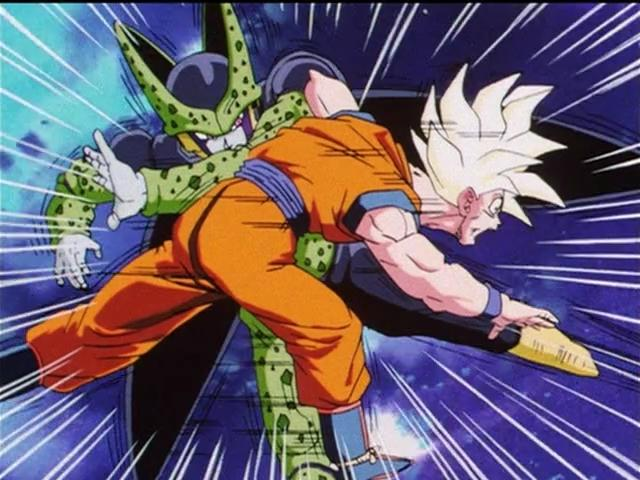 During The Cell Games Full Power Super Saiyan Goku Was Going Blow For Against After Blew Up Tournament Ring It Seemed Like He